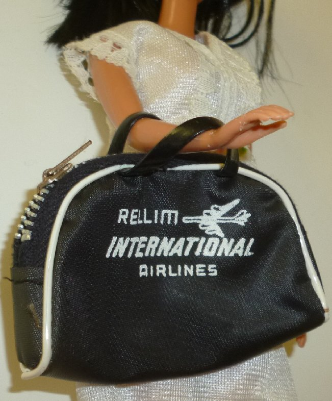 BARBIE Doll Assessory vintage RELLIM AIRLINES luggage bag