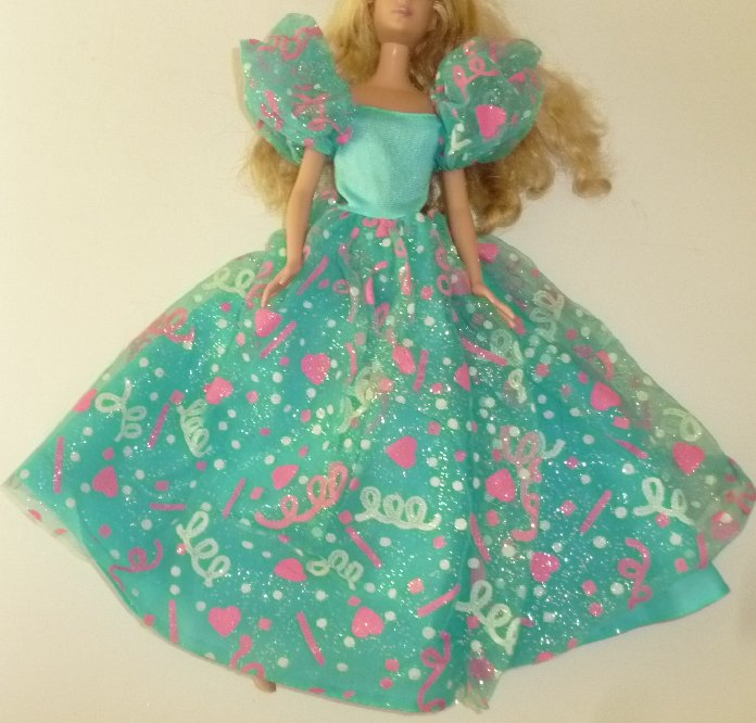 BARBIE Doll Clothing blue print party dress gown, no tag