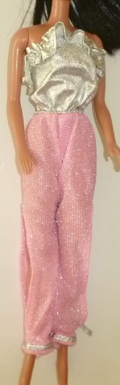 BARBIE Doll Clothing vintage strapless pink Jumpsuit, silver top
