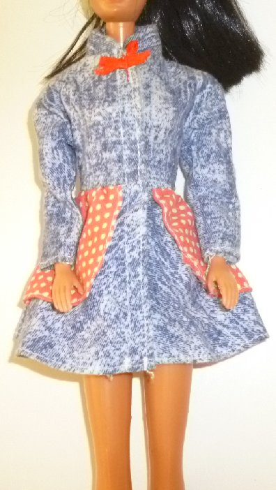 BARBIE Doll Clothing denim dress velcro closure in front