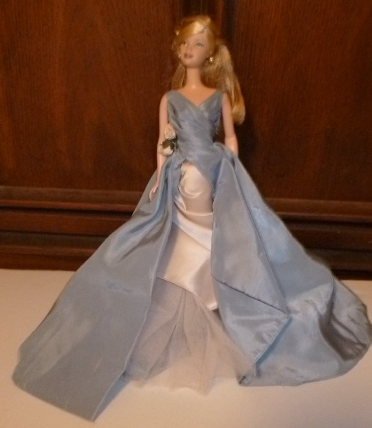 CE pretty BARBIE blonde Doll wearing fancy blue gown