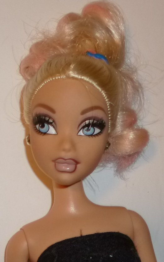 MY SCENE Barbie Doll blonde hair eye lashes dressed black dress