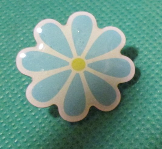Blue FLOWER pinback lapel PIN 1""