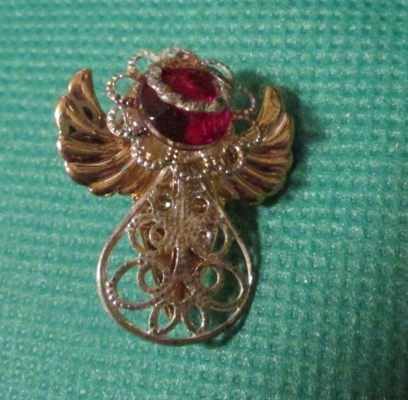 Guardian ANGEL with red jewel pinback lapel PIN 1.25""
