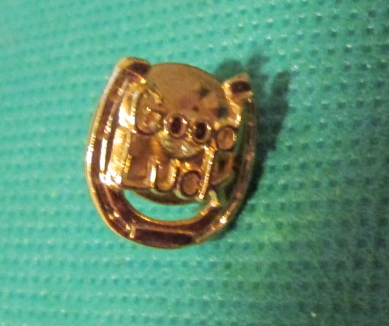GOOD LUCK Horseshoe goldtone pinback lapel PIN 0.5""