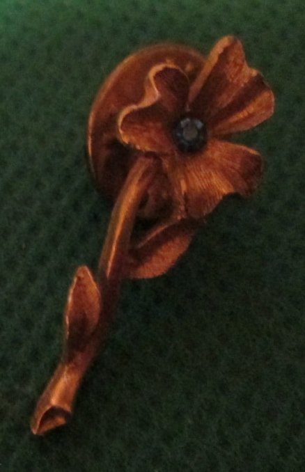 FLOWER with stem goldtone pinback lapel PIN 1""