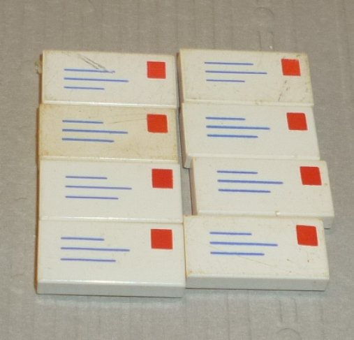 LEGO Parts lot of 8 Tile 1x2 white decorated Mail LETTER