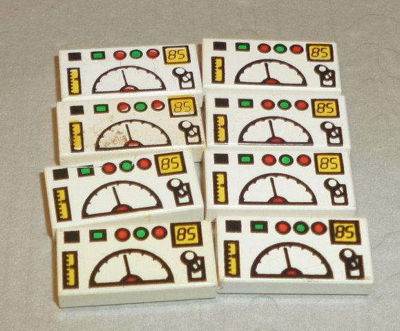 LEGO Parts lot of 8 Tile 1x2 white decorated GAUGE