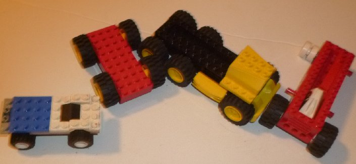 LEGO Parts Lot of 4 partial Car & truck with bases & some tires
