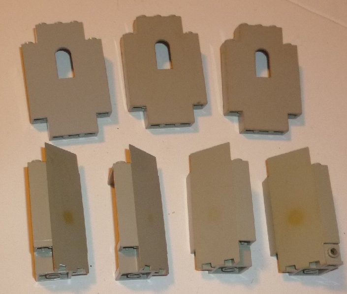 LEGO Parts lot of 7 gray Castle WALL and corner panels