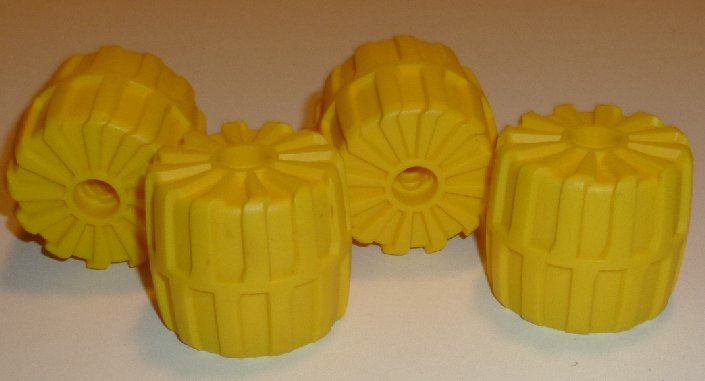 LEGO Car Parts lot of 4 yellow plastic Tyre Tires