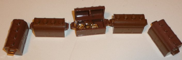 LEGO Parts Lot of 5 brown treasure chest & 7 coins