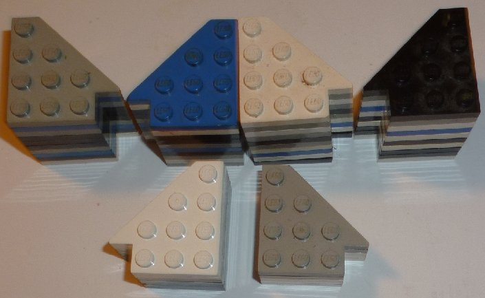 LEGO Parts lot of WING Plate 3x3 left 27 & right 25 mixed colors