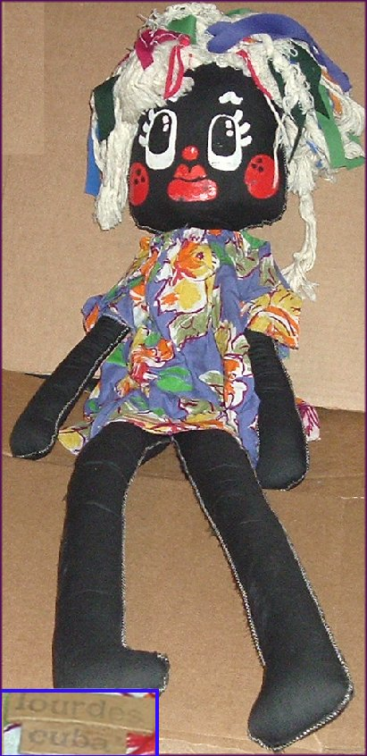 LOURDES CUBA Cloth BLACK Girl Rag Doll MOP hair 36 in
