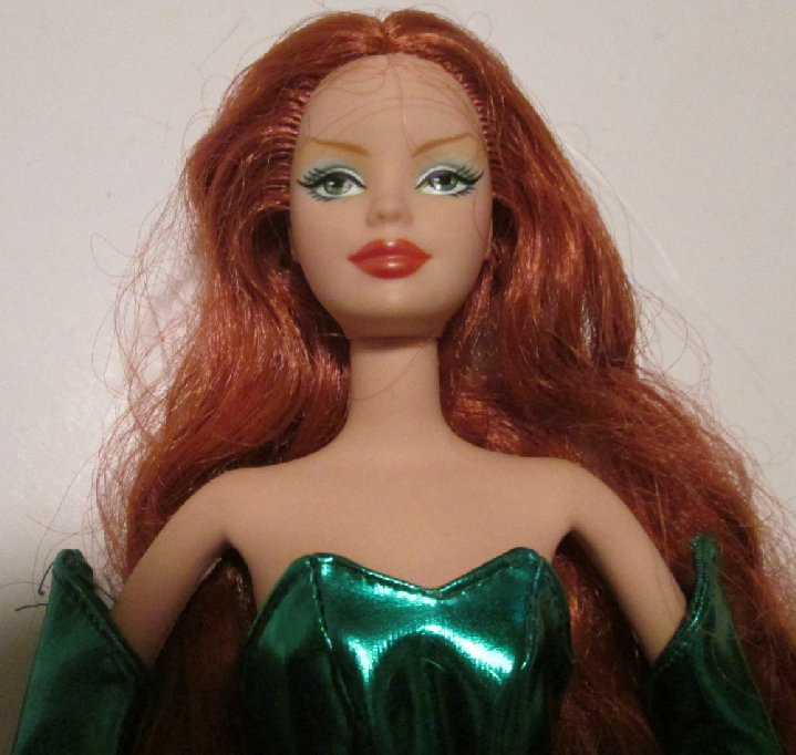 BARBIE Doll POISON IVY Red hair wearing green outfit with boots