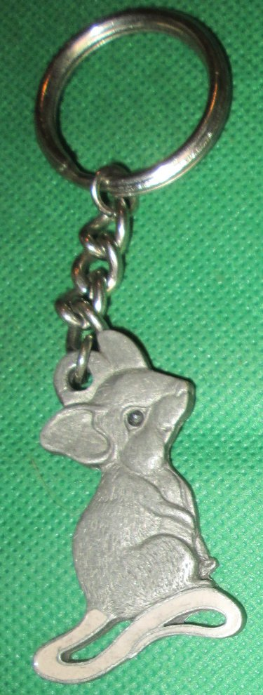 1987 Rawcliffe Pewter I LOVE MICE metal keyring key chain