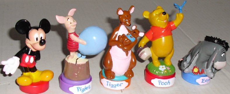Disney lot of 4 POOH PVC Figure Stampers + MICKEY MOUSE