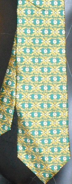 LONGCHAMP Paris geometric silk Necktie TIE green background