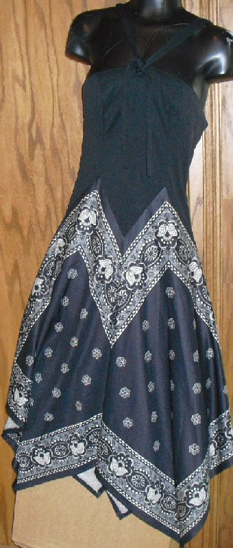 Vtg MOD 70s JACK HARTLEY black Hippie hankie Dress