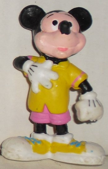"MICKEY MOUSE PVC Figure w/hand on chest 2.25"", Disney Applause"