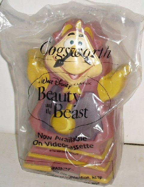 "BEAUTY & BEAST vinyl puppet COGSWORTH 5.5"" Disney MIP"