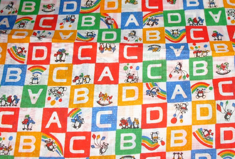 "Craft piece FABRIC juvenile ABCD blocks 43""x46"""