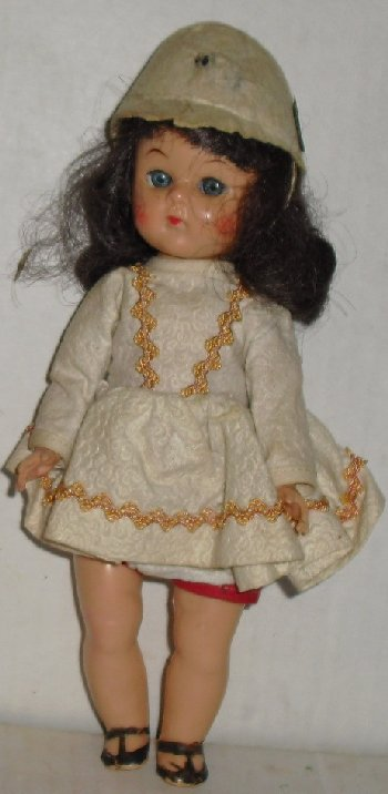 Vtg Hard Plastic Virga Playmate (?) brunette Doll 8""