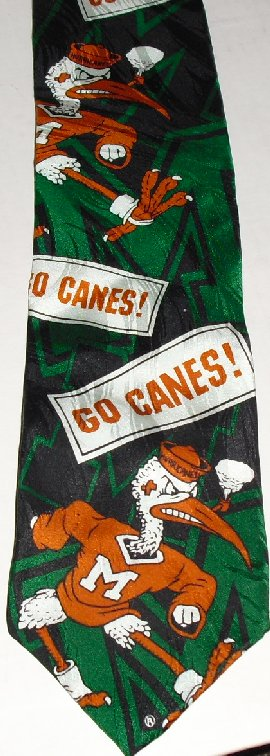 RM Sports University of Miami HURRICANES Ibis silk Necktie TIE