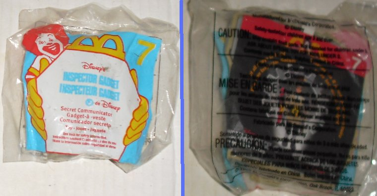 INSPECTOR GADGET McD McDonalds Toy #7 Secret Communicator MIP