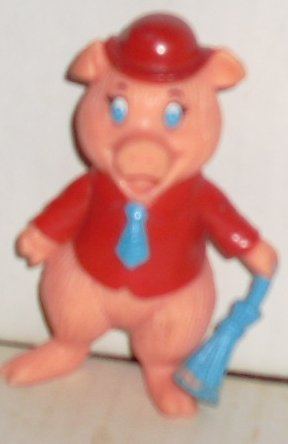 1988 PIG PVC Figure w/red hat & shirt w/blue tie 3.5""