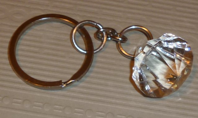 Multi-faceted plastic Crystal keyring key chain 1""