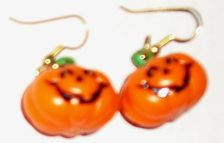 RUSS Halloween PUMPKIN Jack O Lantern pierced earrings