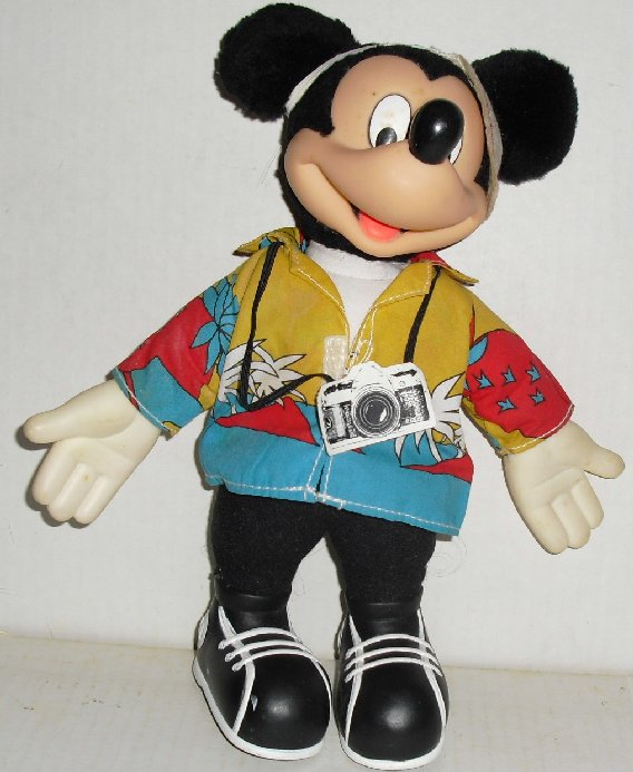 "Plush MICKEY MOUSE Doll TOURIST 10"", Disney APPLAUSE"