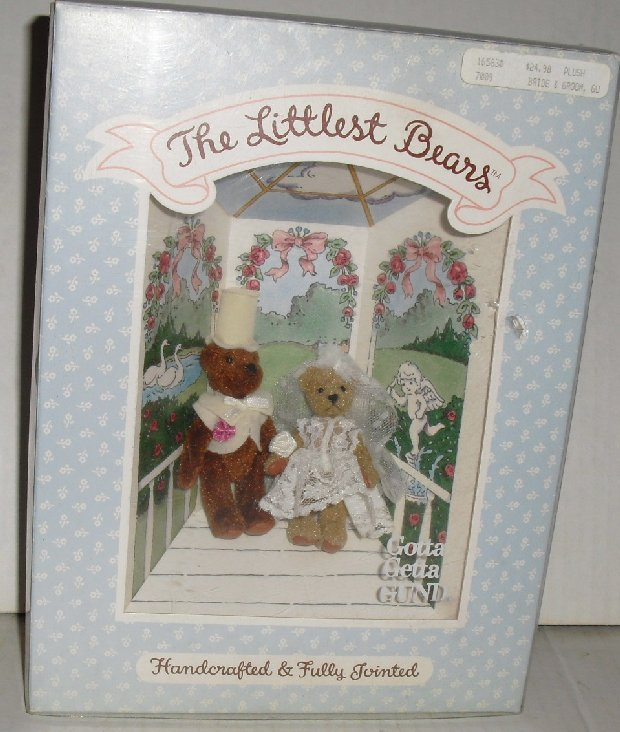 GUND The LITTLEST BEARS 7009 Wedding Bride & Groom MIB