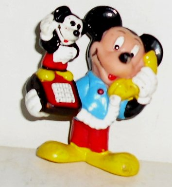 MICKEY MOUSE PVC Figure w/telephone Disney