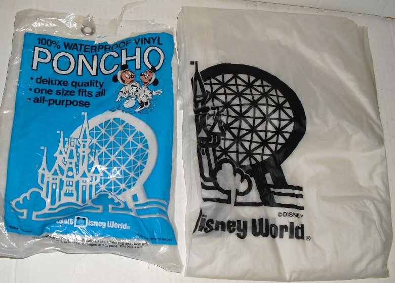 Vintage Walt Disney World vinyl Poncho in opened Pkg