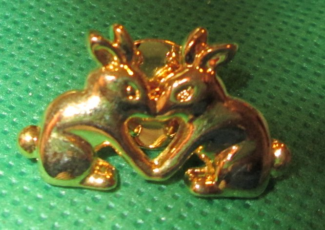 "Two BUNNY RABBIT pinback lapel PIN 1.25"" long"