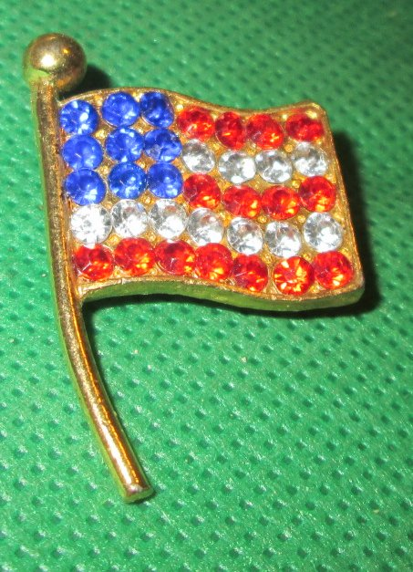 Patriotic US FLAG rhinestones red white & blue lapel PIN 1.5""
