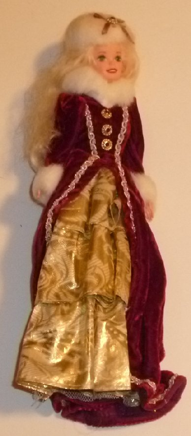 CE BARBIE Doll blonde wearing maroon gold evening gown fur trim