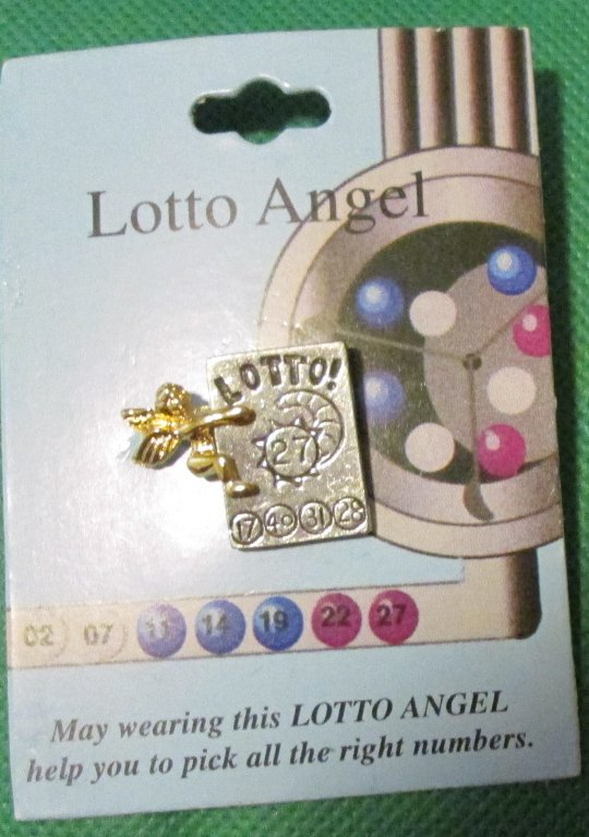 "Lottery LOTTO ANGEL metal pinback lapel PIN 1"", Mint On Card"
