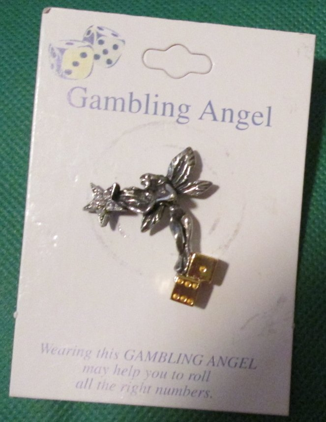 "GAMBLING ANGEL with dice metal pinback lapel PIN 1.5"", MOC"