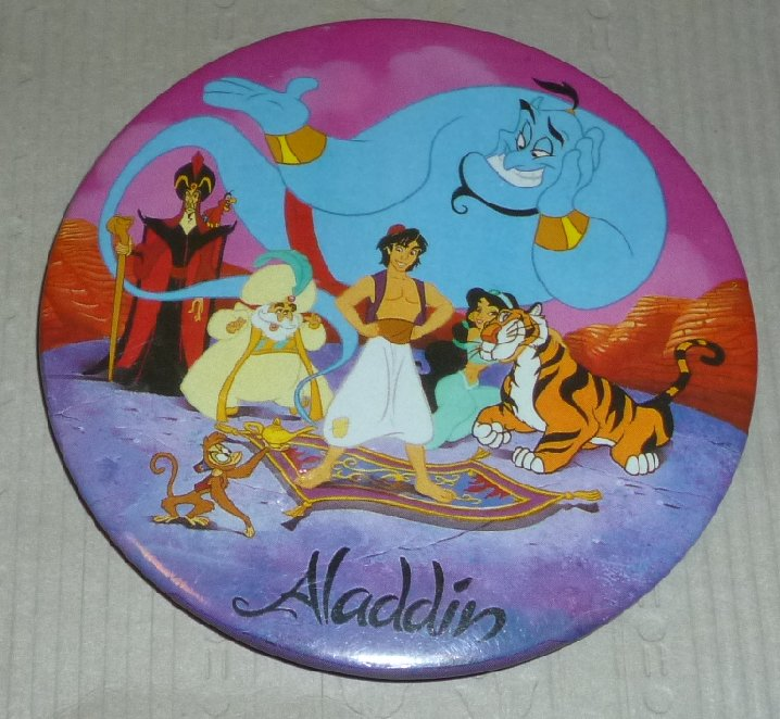 Vintage ALADDIN movie round button Pin 3""