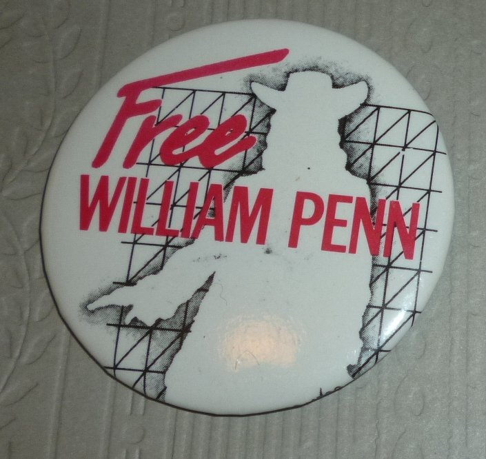 FREE WILLIAM PENN round button Pin 2""