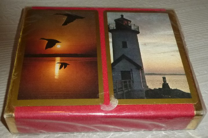 Vintage 2 Deck double playing cards Flying Geese Lighthouse MIP