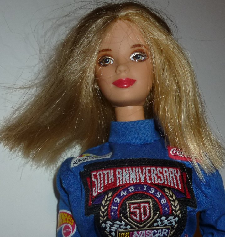 BARBIE Doll blonde wearing 50th Anniversary NASCAR jumpsuit