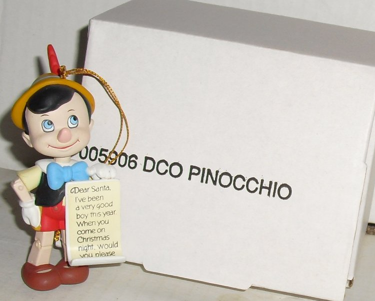 "Disney Grolier DCO Ornament PINOCCHIO 3.25"", in Box"