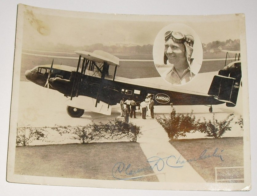 CLARENCE CHAMBERLIN signed Photo Aviation Pioneer Pilot