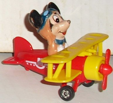 "Vtg MICKEY MOUSE in airplane 3"" long, Disney Tomy Japan"