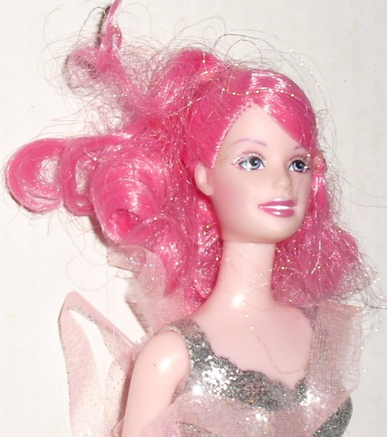 BARBIE Doll FAIRY pink hair & glitter painted top