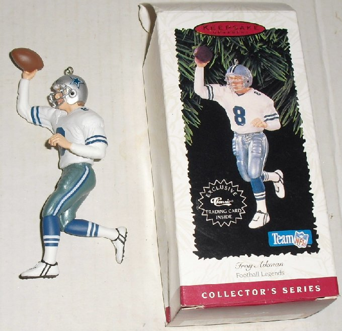 1996 Hallmark Ornament Football Legends TROY AIKMAN box